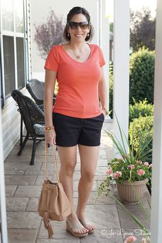 Fashion Over 40: Summer Outfit Ideas | Coral Tee + Black Shorts + Neutral Wedge Sandals