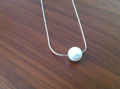 Floating Pearl Silver Necklace