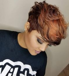 Short Haircuts: Beautiful cut and color by Keisha Mines - blackhairinformat. - Best Hair Styles EVER Short Sassy Hair, Short Hair Cuts, My Hairstyle, Cool Hairstyles, Black Short Hairstyles, 27 Piece Hairstyles, Casual Hairstyles, Medium Hairstyles, Latest Hairstyles