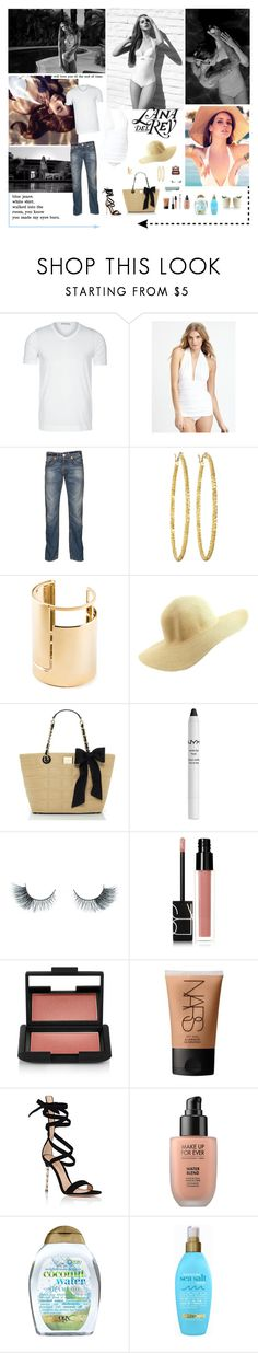 """""""Lana Del Rey: Blue Jeans"""" by aleksa ❤ liked on Polyvore featuring Strenesse, Norma Kamali, True Religion, Brooks Brothers, Lanvin, Charlotte Russe, Kate Spade, NYX, Unicorn Lashes and NARS Cosmetics"""