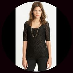 """Banana Republic Black Lace Top Banana Republic Black Lace Top. Low round neckline in front and back. Elbow length sleeves. Rich textured fabric that has a bronze/gold hue to it. Fabric content: 62% Polyester, 36% Nylon and 2% Spandex. Measurements: Bust is 18"""" laying flat armpit to armpit, Length is 26"""" shoulder to hem. Size L Petite (snug fit). NWT Banana Republic Tops"""