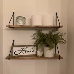 Shelves Above Toilet, Wooden Wall Shelves, Family Wall Decor, Wall Shelf Decor, Downstairs Bathroom, Small Bathroom, Bathroom Ideas, Powder Room Decor, Floating Shelves Bathroom
