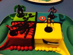 Superhero cake I made for my sons 8th birthday using caramel mud as cake base.