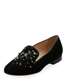 Christian Louboutin Candy Moc Jeweled Red Sole Loafer, Black