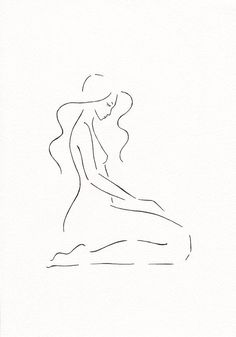 Original drawing. Cute minimalist nude sketch. Bedroom wall art by Siret Roots…