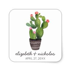 Shop Pink Floral Cactus Square Sticker created by weddingchicks. Pink Wedding Theme, Pink Wedding Invitations, Seashell Wedding, Cactus Stickers, Light Pink Rose, Pink Themes, Wedding Designs, Wedding Ideas, Pink Flowers