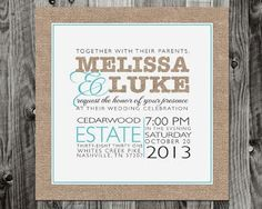 Modern Burlap Wedding Invitation
