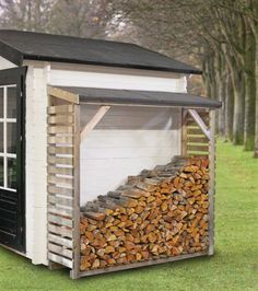 Log store made from pressure treated timber, a felted and side slats will keep your logs dry and secure whilst still seasoning. If ordered with another garden building we will supply matching roof covering free. Outdoor Firewood Rack, Firewood Shed, Firewood Storage, Wood Storage Sheds, Wood Store, Garden Buildings, Outdoor Living, Outdoor Decor, Outdoor Projects