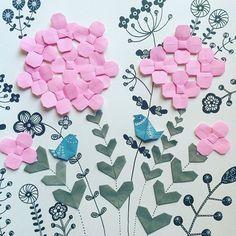 コトリチャン小さすぎた?額縁に入れると飾りやすい(^^) Are the birds too small? ・ ・ #Walldecoration #frame #origami #papercraft #illustration #flowers #birds #nanatakahashi #おりがみ #ペーパークラフト #イラスト #壁飾り #額縁 #おはな #ことり #たかはしなな
