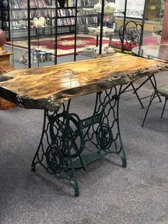 Sofa table for Sale in Jacksonville, NC - OfferUp Refurbished Furniture, Repurposed Furniture, Industrial Furniture, Rustic Furniture, Furniture Makeover, Cool Furniture, Singer Table, Singer Sewing Tables, Sewing Machine Projects