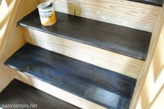 stain + poly (staircase makeover) basement stairs, poli staircas, staining stairs, staircas makeov