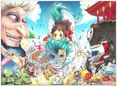 #1 COLOR SPREAD: Spirited Away [#ColorSpreadProject] (Prints available at my INPRNT SHOP, link in bio)  FINALLY GOT A SCANNER!!! It looks 100x times better than phone camera quality. This is the first piece of the weekly Color Spread Project. I'm working on the 6th spread this week. Please leave a comment and tell me what you think. It goes without saying that I'll be posting the scanned versions from here on out! I'll post the rest later today, stay tuned! #igfeaturedfriday