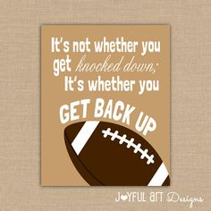 Motivating Football Quote PRINTABLE Signs. Sports Decor. Football Sign. Children's Wall Art. Boy Bedroom Decor. DIGITAL file.
