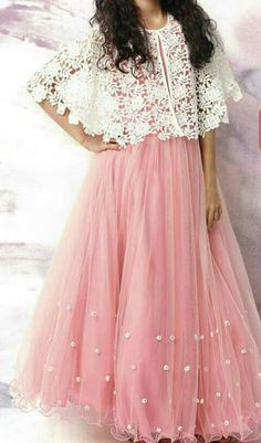 Youdesign Tulle Lace Cape Dress In Pink Colour To try in tatting Indian Fashion Dresses, Indian Gowns Dresses, Pakistani Dresses, Indian Outfits, Eid Outfits, Eid Dresses, Indian Wedding Outfits, Wedding Dresses, Long Gown Dress