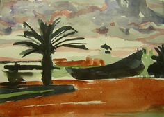 """Morning in Sousse, Tunisia"", painted by Dorina Padineanu, water color on paper"