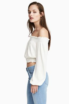 Off-the-shoulder top - White - Ladies   H&M CA 1