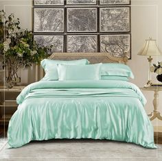 Online shopping for mint green silk duvet covers, interior corner ties are available to keep the duvet in place. Decor, Mint Green, Furniture, Interior, Linen Bedding, Duvet, Home Decor, Bed, Silk Duvet Cover