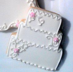 18 Decorated Sugar Cookies Wedding Cake Bridal Shower favor Pale pink