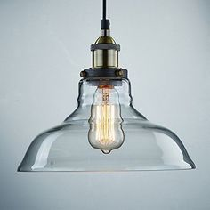 Ecopower Industrial Edison Vintage Style 1-Light Pendant Glass Hanging Light