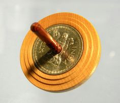 Vintage Indian Rupee Coin, Handmade Spin Top by Joshua Andra