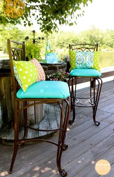 Dress your old cushions up with colorful fabrics and add a fresh note to your porch or patio. Click on image to see more backyard patio ideas and porch designs (even on a budget).