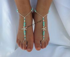 Beach wedding barefoot sandals-Kids foot jewelry Rhinestone