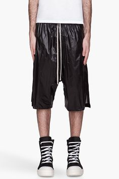 RICK OWENS Black high-gloss Basket Swinger shorts