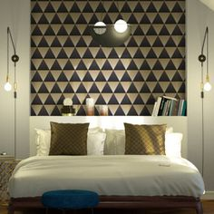ISIDORE non-woven wallpaper black - pattern Au Hasard Balthazar, Graphic Patterns, Black Pattern, Decoration, Bedroom, Wallpaper, Furniture, Color, Relief