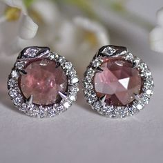 Nora Kogan Temptation Studs in 18k white gold with pink rosecut tourmalines and diamond pavé.