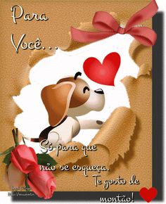 Foto com animação Portuguese Quotes, Sweetest Day, Cute Animal Drawings, Love Is Sweet, Emoticon, Beautiful Roses, Burlap Wreath, Bowser, Cute Animals