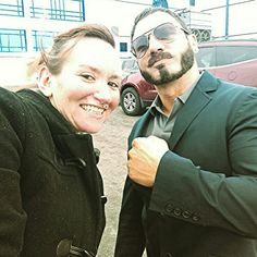 """At Rosemont Illinois.  When your bf hollers your guys are from Southside Milwaukee and WWE wrestler does a beeline for YOU GUYS... AND! Austin Aries jokes """"F*CK those Bears. Go Pack Go!"""" Ha! Love this guy!!!"""