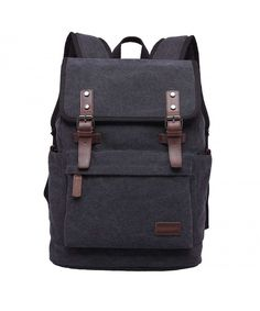 a6da926252 Canvas Backpack Book Bag Casual Rucksack Travel Backpack for Men - Black -  CM18600WWE6