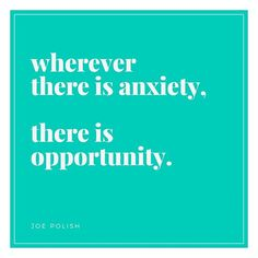 I'll be the first one to say that anxiety sucks. But I also LOVE this idea from Joe Polish that where there is anxiety there is opportunity.  There is an opportunity for improvement. There is an opportunity for change. For growth. For peace. For BEING the change in your life.  Anxiety stress jealousy fear and frustration can be DIRECTIONAL. They can point us to the areas where we have an OPPORTUNITY to grow change and improve.  Don't resent these strong feelings. Seize the opportunity they…