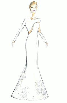María Gondar. Vestido marfil y transparente, con flores cosidas bajo la falda, de corte sirena.