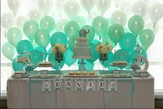 Blue white and green balloons NOT black.... it needs to look cheerful LMPO dont mind the rest this is a baby shower!!!