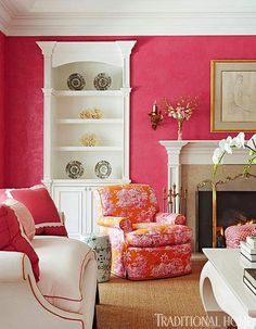 Raspberry colored walls with white woodwork - so pretty