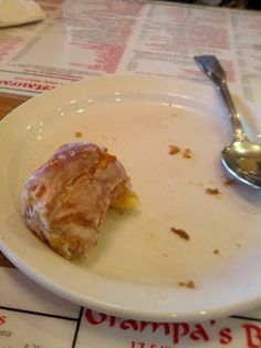What's left of sweet roll at Grampa's Bakery & Restaurant Ft. Lauderdale