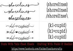 Fonts With Tails (Glyphs) Cheat Sheet Monogram Fonts, Monogram Letters, Alphabet Templates, Font Alphabet, Calligraphy Alphabet, Calligraphy Fonts, Glyph Font, Font Combos, Font Packs