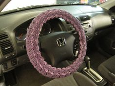 Crochet Steering Wheel Cover, Wheel Cozy with 2 designs - dark mauve/purple mist  (CSWC 6M) by ytang on Etsy
