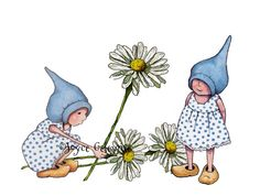 Clipart Printable Hand Drawn Gnome Girls by ToadstoolPrintables