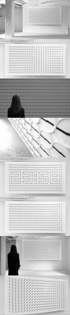 A Million Times Installation || Après leur modèle Clock Clock White, le studio suédois Humans Since 1982 a imaginé cette horloge géante et hypnotique appelée « A million times ». Cette création composée de 288 horloges sera présentée à la Design Days Dubai du 18 au 21 Mars 2013.