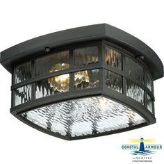 "Quoizel SNN1612 Stonington 2 Light 12"" Wide Flush Mount Outdoor Ceiling Fixture Mystic Black Outdoor Lighting Ceiling Fixtures Flush Mount"