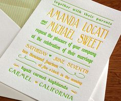 Our modern #wedding #invitation design Amanda is playful and sweet in a bold bright green and a custard yellow.  | Invitations by Ajalon | http://invitationsbyajalon.com/