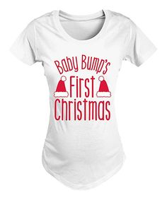 White & Red 'First Christmas' Side-Ruched Maternity Crewneck Tee