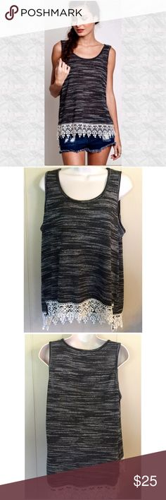 """New ListingBlack & White Fringe Tank Perfect for summer weather! 36"""" bust, 25"""" length. Loose fitting. Cotton & polyester mix. Tops Tank Tops"""