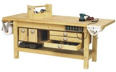Woodworking Bench Basic Workbench and 6 ways to beef it up Woodworking Plan from WOOD Magazine Woodworking Bench Plans, Woodworking For Kids, Workbench Plans, Easy Woodworking Projects, Wood Plans, Popular Woodworking, Woodworking Tools, Workbench Stool, Wood Projects