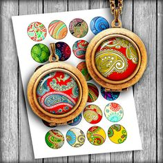 Digital Collage Sheet Paisley Ornaments 12mm  by MobyCatGraphics, $3.80