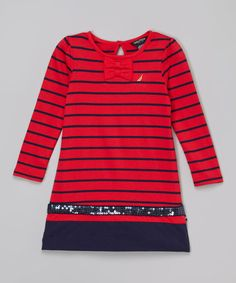 Love this Red Sequin Stripe Dress - Infant & Toddler on #zulily! #zulilyfinds