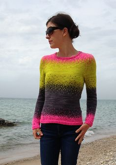 Ravelry: Pixelated Pullover pattern by Jennifer Beaumont Lime Gray Pink knit Creative Knitting, Ravelry, Poncho, How To Purl Knit, Knitting Designs, Pulls, Hand Knitting, Knitwear, Knitting Patterns