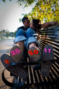 Great idea for engagement pictures but i would write the numbers instead